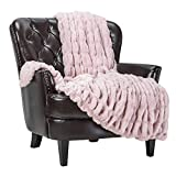 Chanasya Ruched Luxurious Soft Faux Fur Throw Blanket - Fuzzy Plush and Elegant with Reversible Mink Blanket for Sofa Chair Couch Living Room Birthday Gift and Home Decor (50x65 Inches) Tan Rose