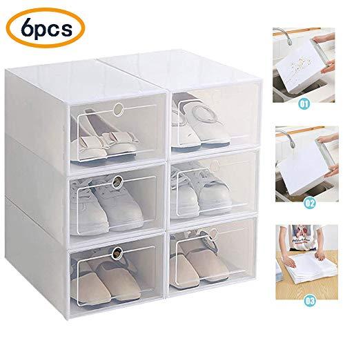 Eustoma Organizador de Zapatos, Cajas de Zapatos Apilable/Cajas Zapatos Transparentes Cajas de Almacenaje Paquete de Organizadores de Zapatos Apilables (White)