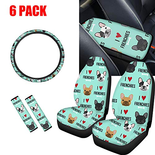NDISTIN 6PC Cute Car Seat Covers French Bulldog Design Combo Set with Steering Wheel Cover + Seat Belt Shoulder Pad + Center Console Box Cover Armrest Cushion Mat Universal Auto Interior Accessories