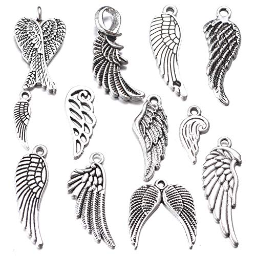 36pcs Mixed Antique Silver Angel Wings Feathers Charms Pendants DIY Bracelets Necklace Jewelry Making Craft Wholesale (A470)