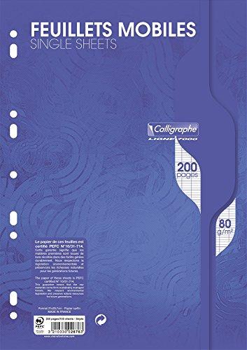 Calligraphe 2676C - Un paquet de feuillets mobiles perforés (gamme 7000 de Clairefontaine) 200 pages 21x29,7 cm 80g grands carreaux, sous film
