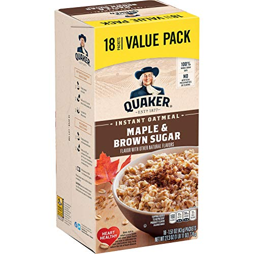Quaker Instant Oatmeal, Maple and Brown Sugar, 18 Count