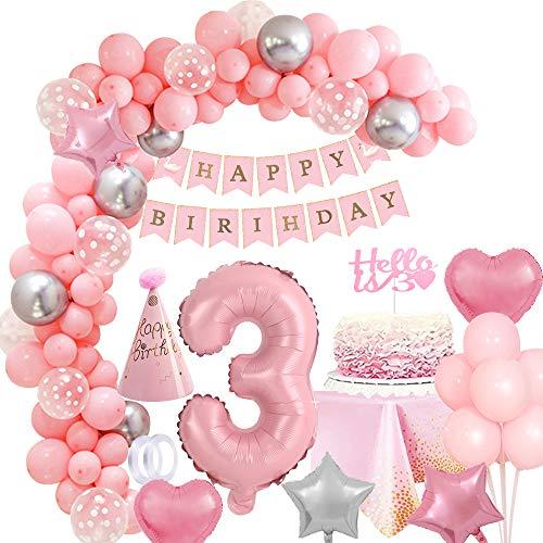 MMTX Geburtstagsdeko Mädchen 3 Jahr, Rosa 40