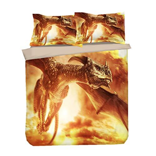 Sticker Superb Funda Nórdica de Lujo, Funda de Edredón de Dragón en 3D, Dragón Dorado Púrpura Rojo Negro, Adecuada para 135 Camas (Dragon Dorado, 220_x_230_cm)