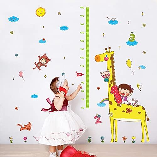Dibujos animados jirafa regla de altura pegatinas de pared habitación de niños decoración del hogar calcomanías arte de pared niños tabla de altura pegatinas de guardería papel tapiz