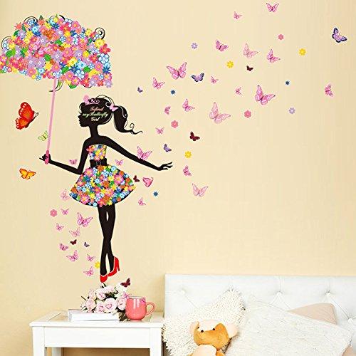 Wallpark Bunt Blume Schmetterling Fee Mädchen Halten Blume Regenschirm Abnehmbare Wandsticker Wandtattoo, Kinder Kids Baby Hause Zimmer Kinderzimmer DIY Dekorativ Klebstoff Kunst Wandaufkleber