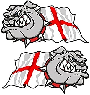 Sticar-It Ltd Mano Par de Bulldog Británico Cruz de San Jorge Inglés Bandera Inglaterra Vinilo para Coche Bicicleta Casco Pegatinas Pequeño 75mm Ancho Cada