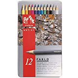 Caran D'Ache Pablo artists quality colouring pencils tin set of 12 assorted water