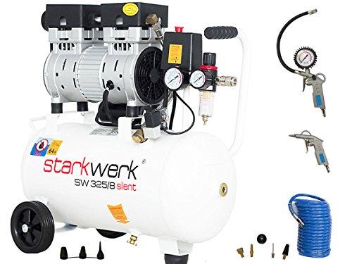 Starkwerk Silent Druckluft Kompressor Flüsterkompressor SW 325/8 Ölfrei SET