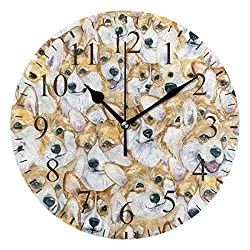 Dozili Hipster Dogs Puppy Pattern Round Wall Clock Arabic Numerals Design Non Ticking Wall Clock Large for Bedrooms,Living Room,Bathroom
