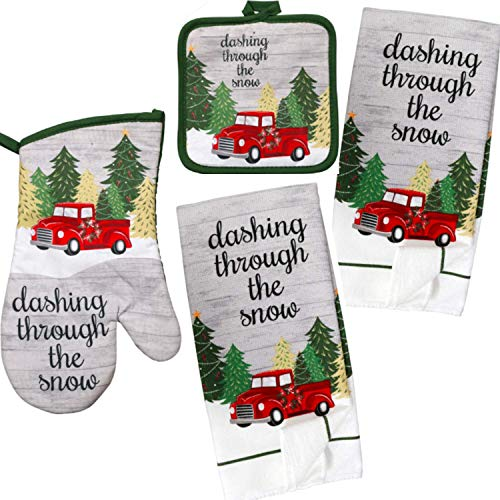 TopNotch Outlet Kitchen Decor - Holiday Decorations - Christmas Tree Linen Set (5 Pc) Red Truck Dashing Through The Snow - Dish Towels - Oven Mitt - Pot Holders - Holiday Home Decor