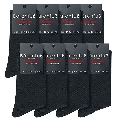 Bärenfuß Herren & Damen Socken - 8 Paar ohne Gummibund - Premium Qualität Dank Gekämmter Baumwolle (Schwarz 43-46)
