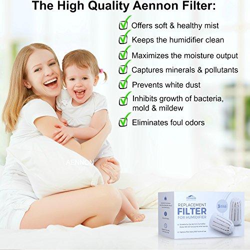 3 Ersatzfilter für Aennon Cool Mist Ultrasonic Luftbefeuchter – Auch für einige andere Marken einsetzbar (3er Packung Luftbefeuchter Filter) - 2