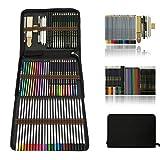 Profesional Lápices de colores Conjunto de Dibujo Artístico,lapiz dibujo y Bosquejo Material Set,Incluye lápices metálicos,acuarelables,carbón,Lápices Pastel,Herramientas de dibujo y Caja de lápiz
