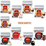 Tassimo Gevalia Coffee Pods T-Discs. Pick Any 5 Packs from 9 Blends Including: Espresso, Cappuccino, Lattes, Café Au Lait and More