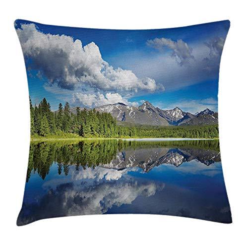 Mountain Throw kussensloop, Lake en Reflection View bij de rokken van Altai Mountains met vers bos, decoratieve vierkante Accent kussensloop, 18 X 18 inch, groen blauw wit
