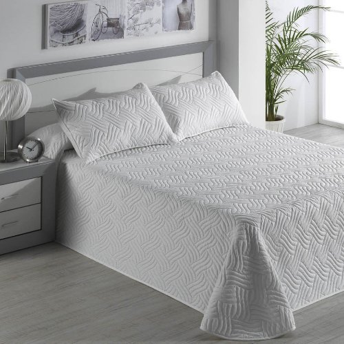 Karamelo Colcha Bouty Mod. Terranova Blanco Efecto 3D Primavera-Verano (Cama 90 cm. (180x270))