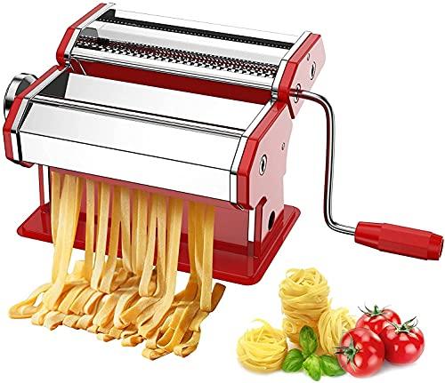 Máquina para Hacer Pasta Fresca Manual Máquina de Cortar Pasta de Acero Inoxidable Roja con Manivela 9 cortes ajustes Fácil Manejo Para Casa Cocina Fideos Masa Tagliatelle Lasaña Espaguetis