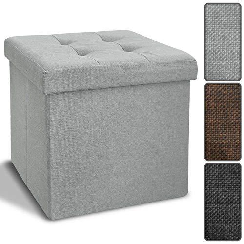Floordirekt Faltbare Sitzwürfel Bellagio | Textilbezug | Hocker | Sitzbox | 2 Größen | 3 Farben | Auch als Sitzbank erhältlich (Sitzwürfel, Grau)