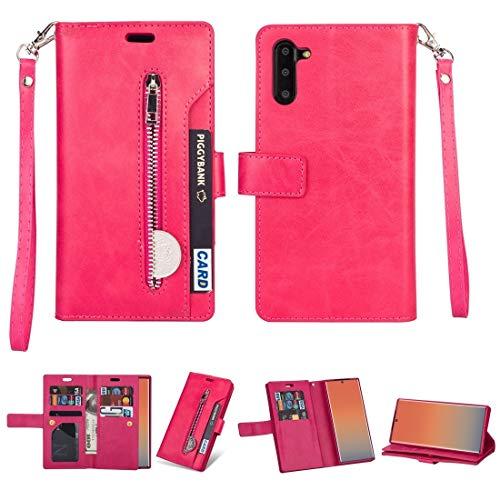 Caja del teléfono móvil para Samsung Galaxy Note10 Multifuncional con Cremallera Caja de Cuero Horizontal Flip con Titular y Billetera y 9 Tarjetas Slots & Lanyard (Color : Rose Red)