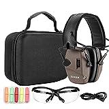 ZOHAN EM054 Electronic Shooting eye and ear protection Set, Glasses, Protective Case for Gun Range-Tan