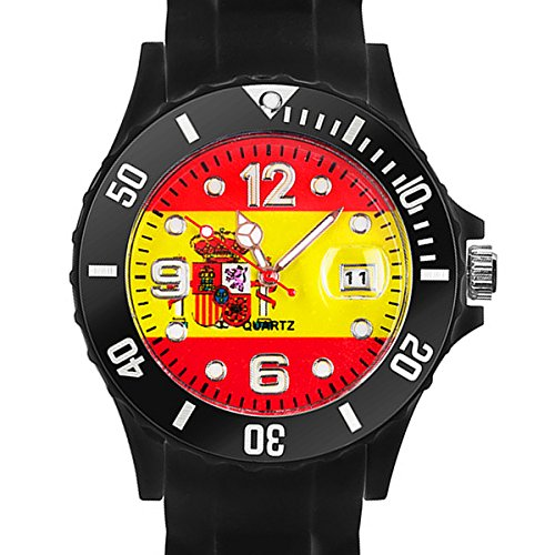 Taffstyle® Fanartikel Silikon Armbanduhr Gummi Trend Watch Quarz Fan Uhr mit Fussball Weltmeisterschaft WM & EM Europameisterschaft 2016 Länder Flaggen Style - Spanien