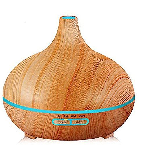 Disperseur D'huile Essentielle 300Ml Aromathérapie Ultrasonique Ultra Mince Humidificateur Bureau Accueil Chambre Salon Étude Yoga Spa - Grain De Bois