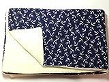 Babydecke - ANKER AUF BLAU - 100 x 70 cm - Baumwolle und Fleece - personalisierbar - Kuscheldecke für Babybett oder Kinderwagen - Geschenk Geburt Taufe Kindergarten Geburtstag