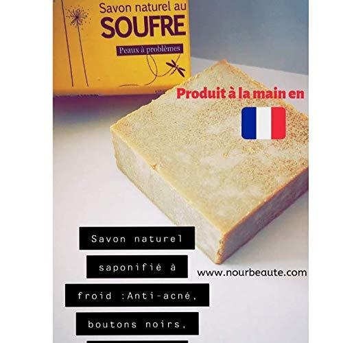 Savon au soufre naturel pour acné, points noirs Saponifié à Froid, Fait à la main en France Nourbeaute