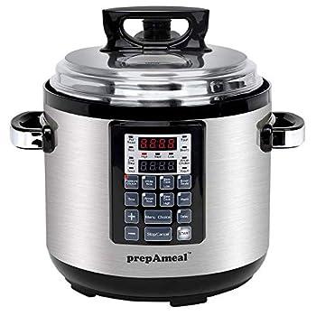 prepAmeal 6QT 8 IN 1 Pressure Cooker MultiUse Programmable Instant Cooker Pressure Pot with Slow Cooker Rice Cooker Steamer Sauté Yogurt Warmer