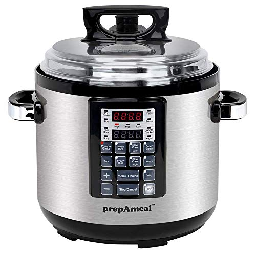 prepAmeal 6QT 8 IN 1 Pressure Cooker MultiUse Programmable Instant Cooker Pressure Pot with Slow Cooker, Rice Cooker, Steamer, Sauté, Yogurt, Warmer
