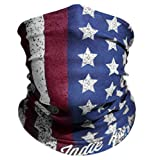 """Indie Ridge """"Old Glory"""" Microfiber Polyester Seamless Tube Headwear One Size Fits All, Red White and Blue"""