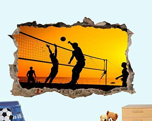 HQSM Wandtattoo Beach Volleyball Sonnenuntergang 3D gefälschte Wandaufkleber Kunst Raumdekoration Aufkleber Wandbild