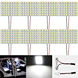Paquet de 8 Blanc 600Lums 5050 48-SMD 12V DC LED pour Voiture Remorque Camper RV éclairage Intérieur Panneau Dôme Lampe Carte Plafonniers Toit Ampoule avec 8 X T10, Adaptateur pour Feston
