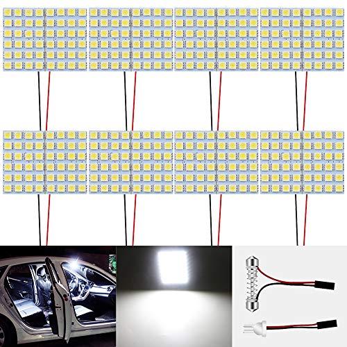 8-Pack White 600Lums 5050 48-SMD 12V DC LED per Rimorchio per Auto Camper RV Illuminazione Interna Pannello Cupola Lampada Mappa Tetto Plafoniera Lampadina con 8 X T10, Adattatore Festone