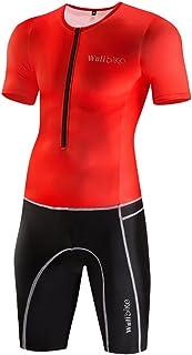 Traje transpirable para hombres para triatlón, exterior, traje para ciclismo, mono con acolchado de gel, manga corta / sin magas, ropa deportiva 2018