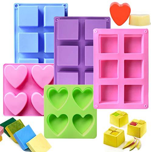 PUDSIRN - 3 stampi in silicone per sapone con 2 stampi in silicone a forma di cuore, 6 cavità quadrate in silicone fai da te fatti a mano, per sapone, muffin, cioccolato, torte