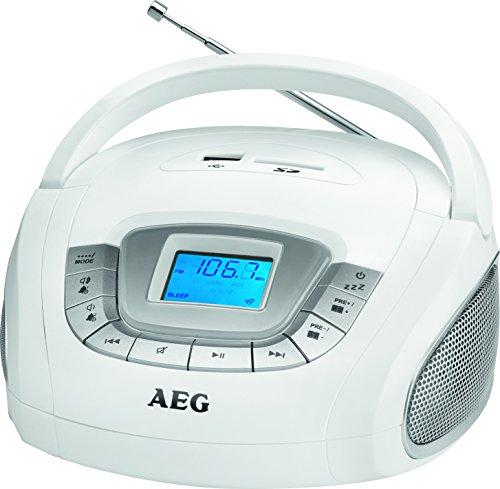 AEG SR 4373 Stereoradio, Uhr mit Alarmfunktion, Multifunktionsdisplay, USB-Port, Card-Slot, AUX-IN, Kopfhöreranschluss wei
