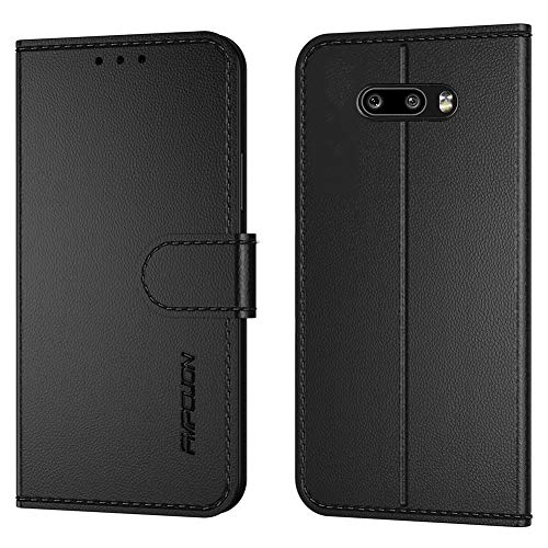 FMPCUON Handyhülle Kompatibel mit LG G8X ThinQ/V50S,Premium Leder Flip Schutzhülle Tasche Hülle Brieftasche Etui Hülle für LG G8X ThinQ/V50S,Schwarz
