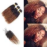 Kinky Curly Bundles with Closure 3 Bundles Brown T1B/30 Lace Closure 4x4 Two-tone Human Hair Virgin Hair Grade 8A Soft 100% Brazilian Hair Extension (18'20'22'+16'Closure) Inch