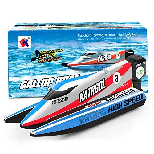 GizmoVine Mini Barco Teledirigido, Barcos RC de 2,4 GHz para Piscinas Que Compiten con Juguetes AcuáTicos Submarinos para NiñOs NiñAs NiñOs (902-azul)