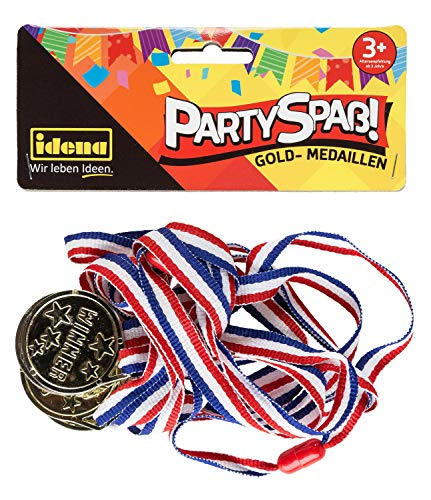 Idena 40433 Partyspaß Gold Medaillen, 4 Stück, mit dem Aufdruck Winner, inklusive Band mit Sicherheitsverschluss, Durchmesser 3,5 cm, Bandlänge ca. 65 cm