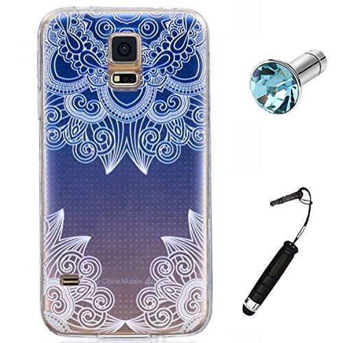 Yrlehoo Custodia per Samsung Galaxy S5 5,1 Pollici, Custodia Protettiva Posteriore in Silicone Morbido per Samsung Galaxy S5 Case Cover, Fiori