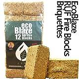 Ecoblaze RUF Briquetas - 1 Paquete (10Kg) - Madera dura Quemado largo, Carbono Neutral, Briqueta Eco-Log - Ideal para chimeneas, estufas, fogones, estufas, chimneas