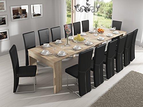 Home Innovation - Table Console Extensible rectangulaire avec rallonges, jusqu'à 300 cm, pour Salle à Manger et séjour, chêne Clair brossé. Jusqu´à 14 Personnes
