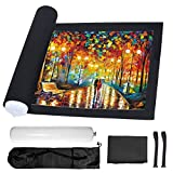 Jigsaw Puzzle Roll Up Mat Puzzle Saver Black Felt Mat with Storage Bag Portable for 300 to 1000 Pieces Puzzle