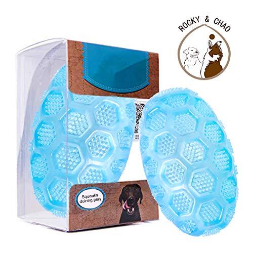 Rocky & Chao Hundespielzeug mit Quietschelement, strapazierfähiges Kauspielzeug aus Gummi, mit Quietschgeräusch, für Training, Laufen, Blau (M)