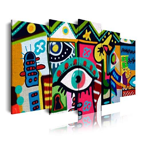 DekoArte 554 - Cuadros Modernos Impresión de Imagen Artística Digitalizada | Lienzo Decorativo para Tu Salón o Dormitorio | Estilo Abstracto Naif figurativo | 5 Piezas 150 x 80 cm