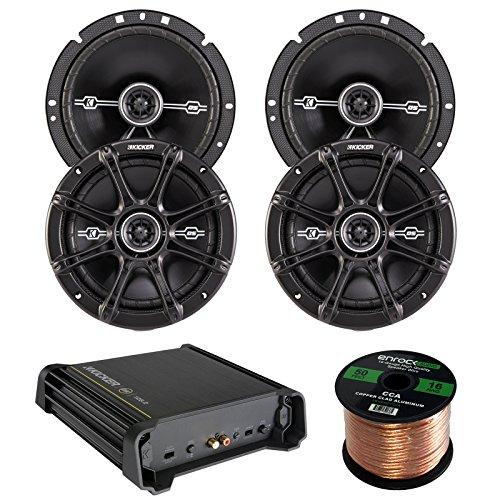 Buy Cheap Car Amp & Speaker Combo:2 Pairs of Kicker 41DSC674 6.75″ Inch 240 Watt 2-Way Black Coaxial Speakers Bundle With 125 Watt RMS 2-Channel DX Series Audio Amplifier + Enrock 50 Foot 16 Gauge Speaker Wire