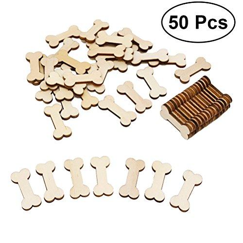 VORCOOL 50Pcs unvollendete Holz Hundeknochen Ausschnitte bereit zu malen oder zu dekorieren für Holz Handwerk und DIY-Projekte